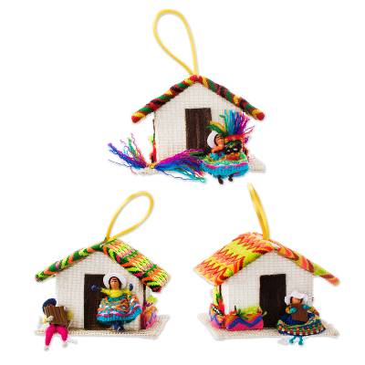 Ornaments, 'Andean Houses' (set of 3) - Peru Handmade Christmas Tree Ornament Se