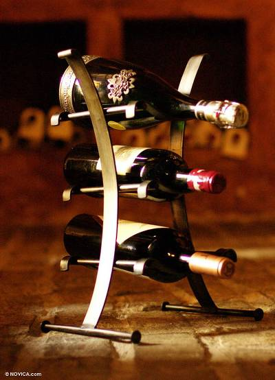 Recycled steel wine rack, 'Environmental Design' - Steel Recycled Wine Rack and Holder