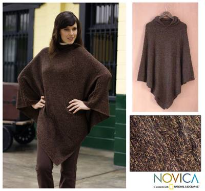 Alpaca poncho, 'Cozy Earth' - Alpaca Wool Solid Hooded Poncho