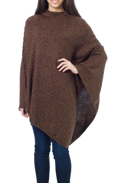Alpaca poncho, 'Cozy Earth' - Alpaca Wool Solid Hooded Poncho