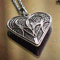 Silver filigree heart necklace, 'Heart Full of Love'
