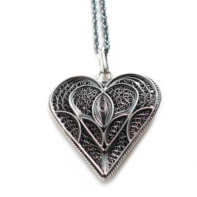 Fair Trade Heart Shaped Sterling Silver Pendant Necklace