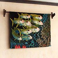 Wool tapestry, 'Aquarium' - Animal Themed Wool Sea Life Tapestry