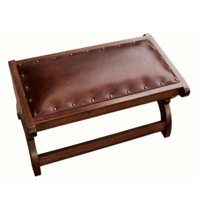 Mohena and leather ottoman, 'Elegance' - Mohena and leather ottoman