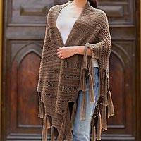 100% alpaca shawl, 'Elegant Legends' - Fair Trade Alpaca Wool Shawl