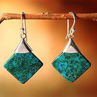 Chrysocolla dangle earrings, 'Synthesis' - Unique Handmade Peruvian Chrysocolla and Silver Earrings