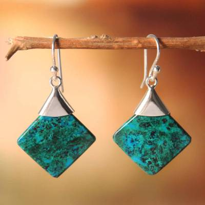 Chrysocolla dangle earrings, 'Synthesis' - Peruvian Chrysocolla and Silver Earrings Handmade Jewelry