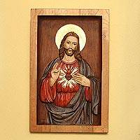 Cedar relief panel, 'Heart of Jesus'