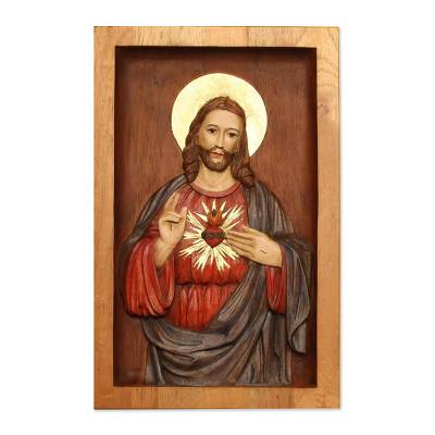 Cedar relief panel, 'Heart of Jesus' - Unique Christianity Wood Relief Panel from Peru