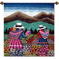 Wool tapestry, 'Women Picking Flowers' - Floral Tapestry from the Andes