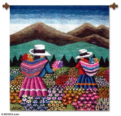 Wool tapestry, 'Women Picking Flowers' - Floral Wool Tapestry Wall Hanging