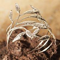 Silver cuff bracelet, 'Dancing Leaves'