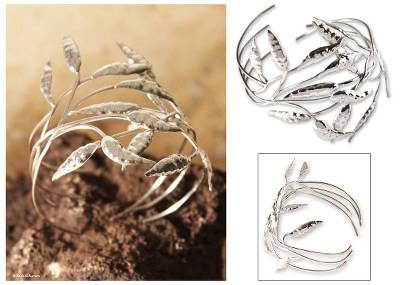 Silver cuff bracelet, Dancing Leaves