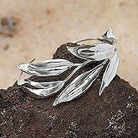 Silver cuff bracelet, 'Lovely Leaves'