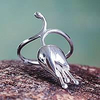 Silver cocktail ring, 'Flower in the Wind'