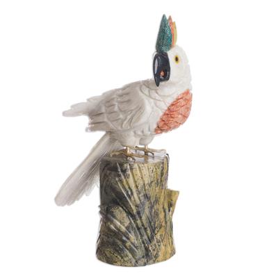 Carved Onyx and Jasper Sculpture Cockatoo Bird Art