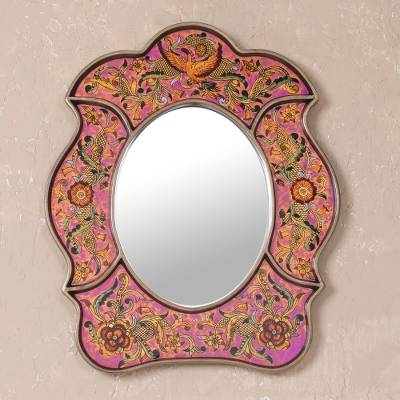 Mirror, 'Garden of Love' - Hand Made Reverse Painted Glass Mirror