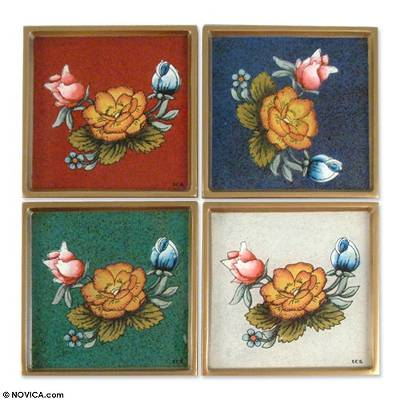 Painted glass coasters, 'Roses' (set of 4) - Painted glass coasters (Set of 4)