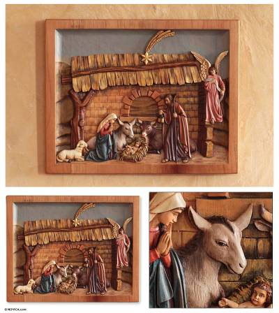 Cedar relief panel, Mystery of Christs Birth