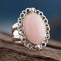 Rose quartz cocktail ring, 'Pink Blossom' - Fair Trade Sterling Silver Rose Quartz Cocktail Ring