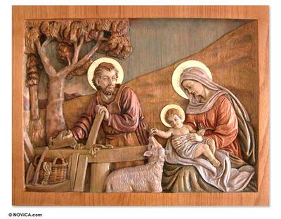 Cedar relief panel, 'Sacred Family Life' - Cedar relief panel