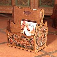 Wood and leather magazine rack, 'Birds in a Berry Bush' - Hand Tooled Leather Art Magazine Rack from Peru