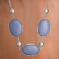 Angelite pendant necklace, 'Heavenly Sky' - Fine Silver Angelite Pendant Necklace