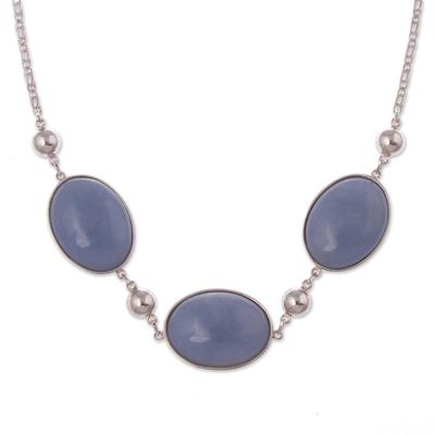 Angelite pendant necklace, 'Heavenly Sky' - Fine Silver Angelite Pendant Necklace