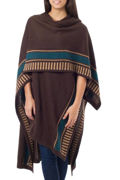 Alpaca blend ruana cloak, 'Mountain Sky' - Alpaca Ruana Cape Wool Blend Cloak