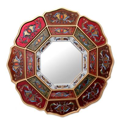 Mirror, 'Colorful Octagon Flower' - Reverse Painted Glass Wall Mirror