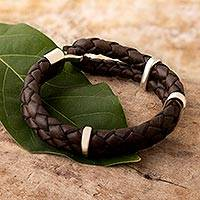 Men's leather bracelet, 'Furrows' - Men's Sterling Silver and Braided Leather Bracelet