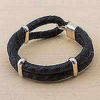 Men's leather bracelet, 'Night's Paths' - Men's Leather and Sterling Silver Bracelet from Peru