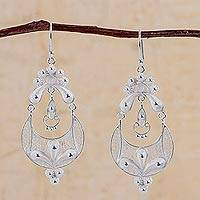 Silver filigree earrings, 'Crescent Moon Bloom'