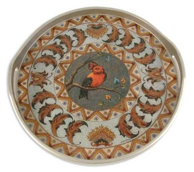 Painted glass tray, 'Bird in Winter' - Painted glass tray