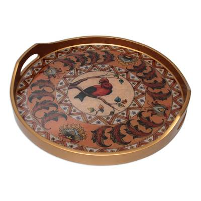 Reverse painted glass tray, 'Bird in Autumn' - Painted glass tray
