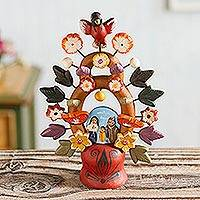 Ceramic nativity scene, 'Christmas Tree of Life' - Fair Trade Ceramic Earthtone Tree of Life Sculpture