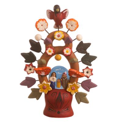 Ceramic nativity scene, 'Christmas Tree of Life' - Fair Trade Ceramic Earthtone Tree of Life Sculpture