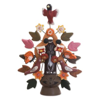Ceramic candleholder, 'Tree of Life' - Ceramic candleholder