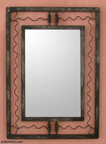 Mirror, 'Inca Highways' - Handmade Contemporary Wood and Steel Mirror