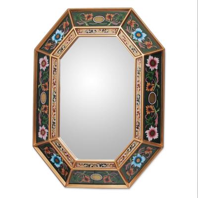 Mirror, 'Wildflowers' - Handmade Reverse Painted Glass Wall Mirror