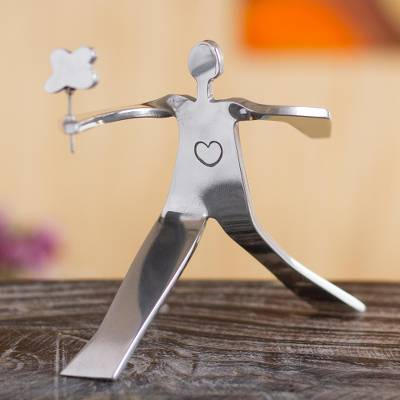Recycled aluminum sculpture, 'Flower for My Love' - Romantic Aluminum Recycled Sculpture from Peru
