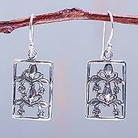 Sterling silver dangle earrings, 'Garden Window' - Sterling silver dangle earrings