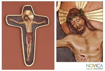 Cedar relief panel, 'Byzantine Crucifix' - Cedar Wood Cross Relief Panel Wall Art