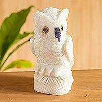 Onyx statuette, 'Midnight Owl' - White Onyx Owl Bird Sculpture