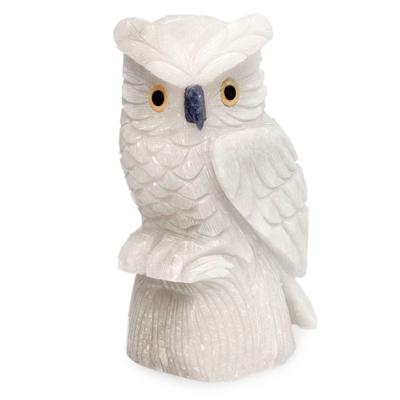 Onyx statuette, 'Midnight Owl' - White Onyx Owl Bird Sculpture