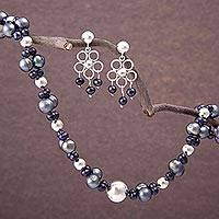 Pearl jewelry set, 'Iridescent Grey' - Unique Floral Fine Silver Beaded Pearl jewellery Set