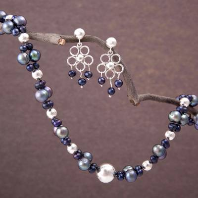 Pearl jewelry set, 'Iridescent Gray' - Unique Floral Fine Silver Beaded Pearl jewellery Set