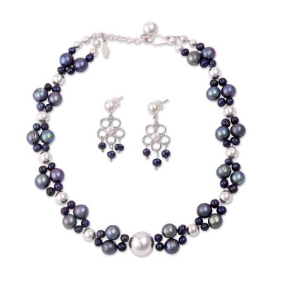 Unique Floral Fine Silver Beaded Pearl Jewelry Set