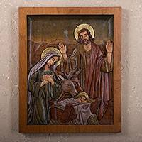 Cedar relief panel, 'Christmas Eve' - Cedar relief panel