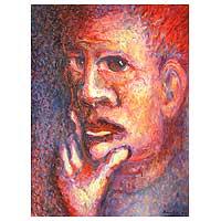 'Portrait of Stranger' - Impressionist Acrylic Painting